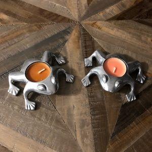 Restoration Hardware Frog Silver Candleholders